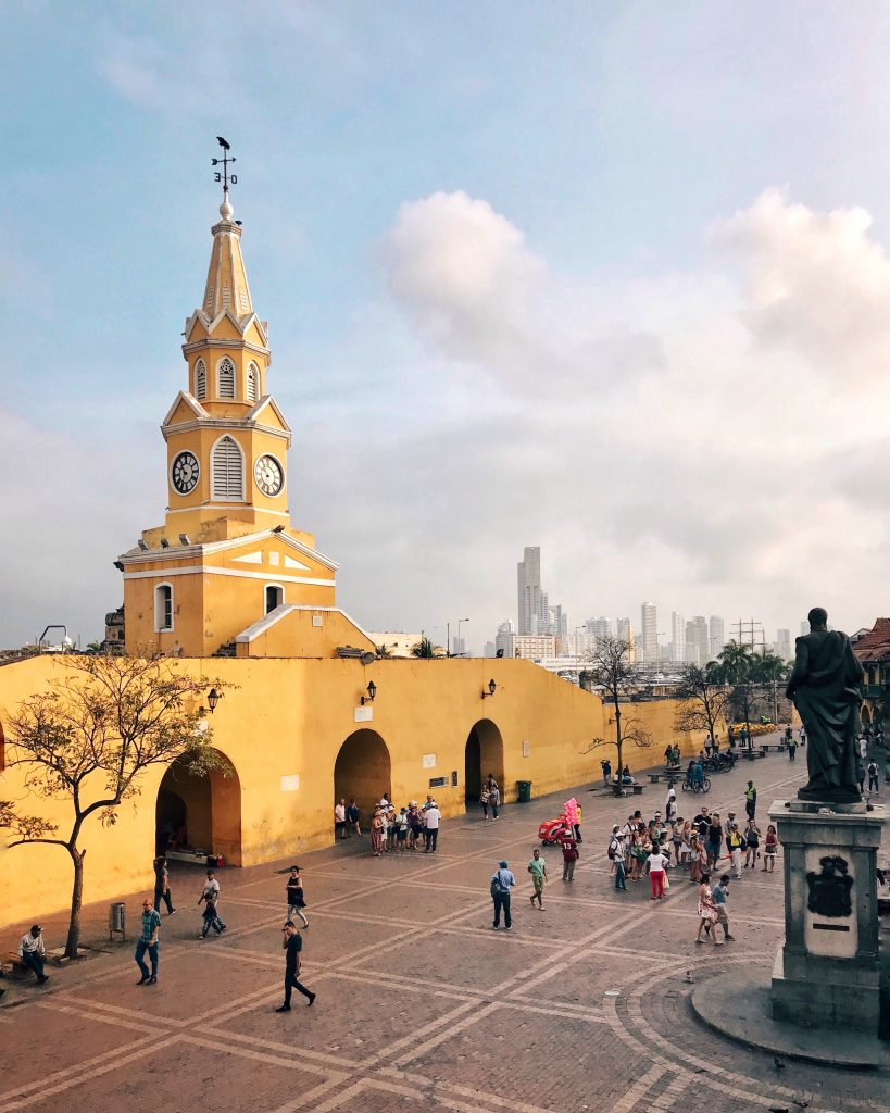 Cartagena Yellow Clock Tower | Through Kelsey's Lens