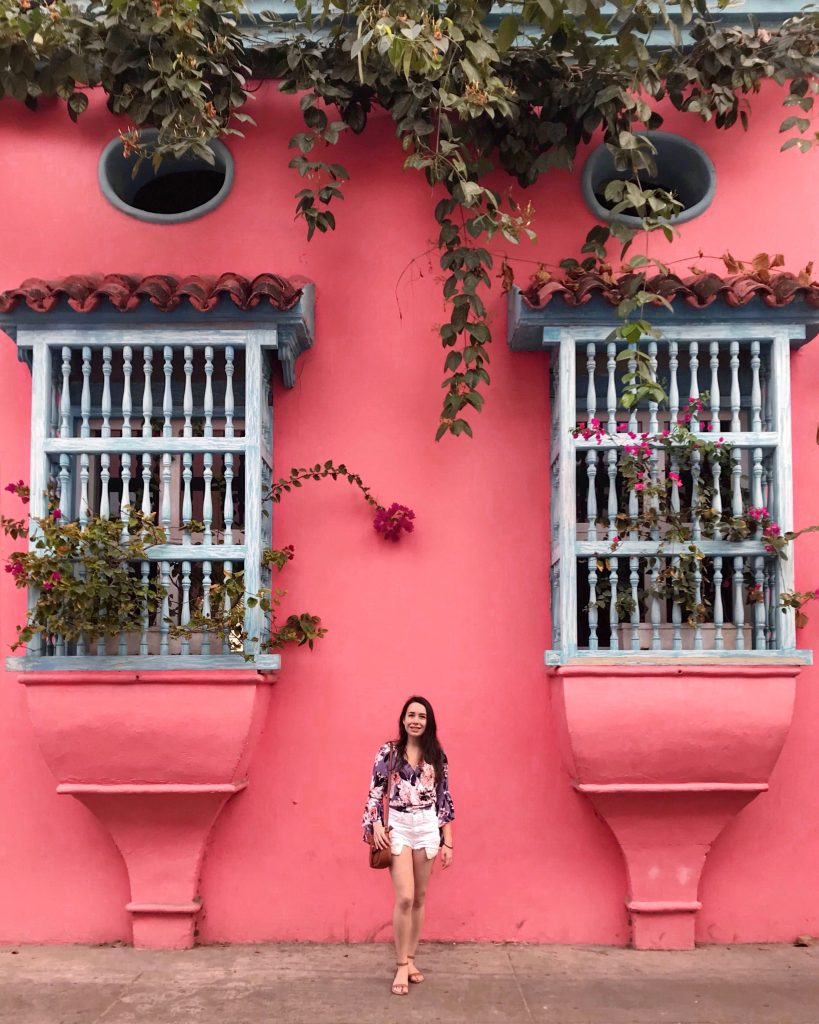 Cartagena Pink Wall | Through Kelsey's Lens