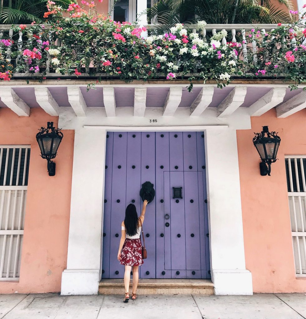 Cartagena Purple Door | Through Kelsey's Lens
