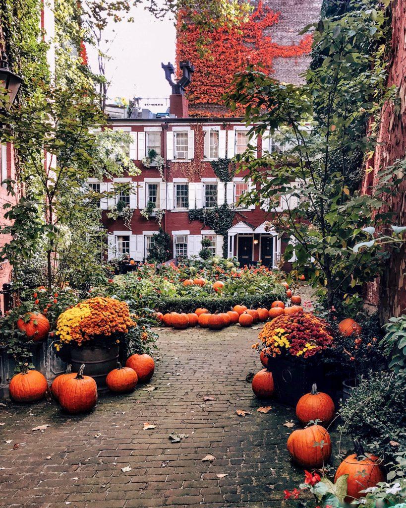 Grove Court on Halloween in New York City