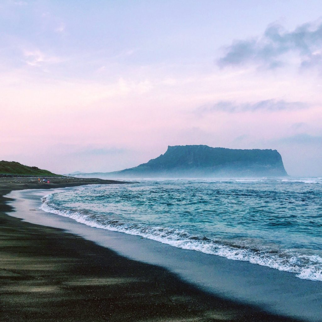 Black sand beach, Jeju, South Korea