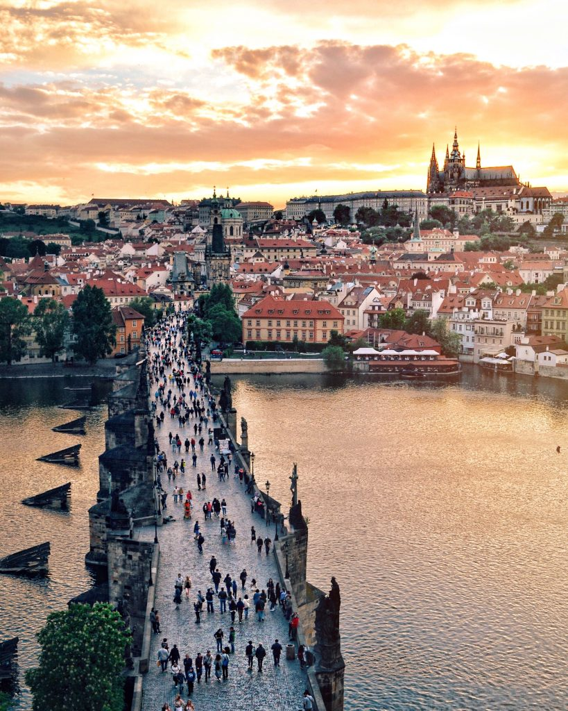 Prague sunset view