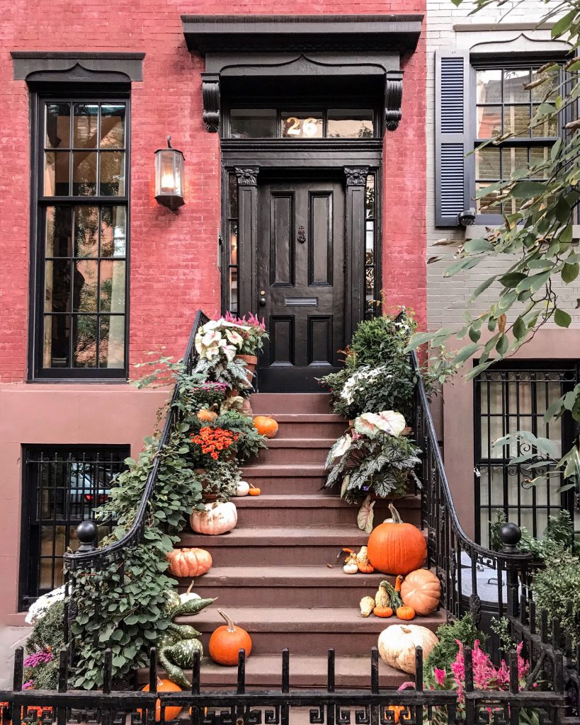 West Village NYC fall decor stoop